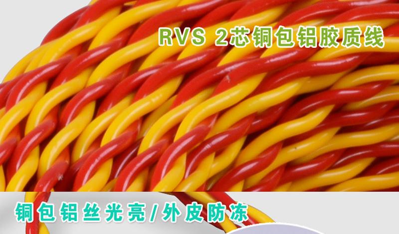 内彩外明RVS 铜包铝2X48丝胶质线 双绞线图片九