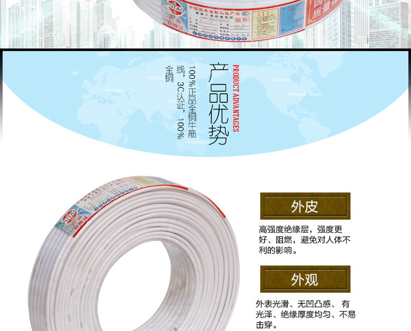 家庭电线 BVVB两芯1.5 2.5 4 6 平方图片二