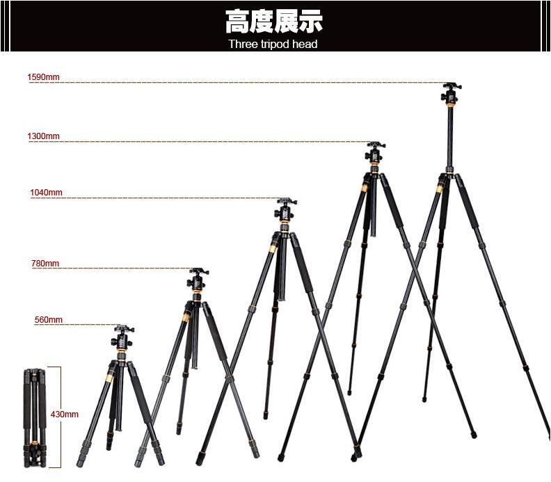 单反碳纤维三脚架 反折超短独脚摄影三角架图片四