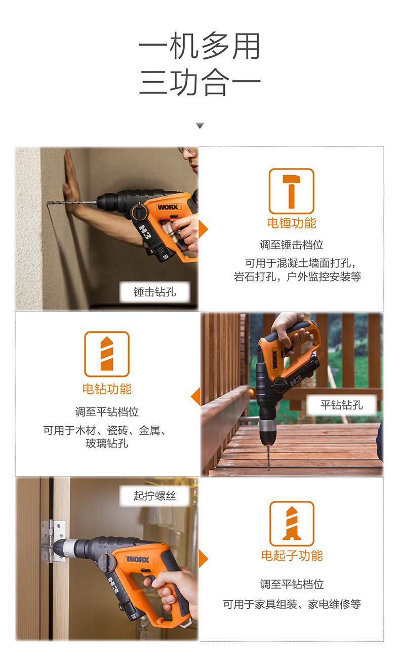 威克士轻型充电电锤WX382 锂电电钻图片八