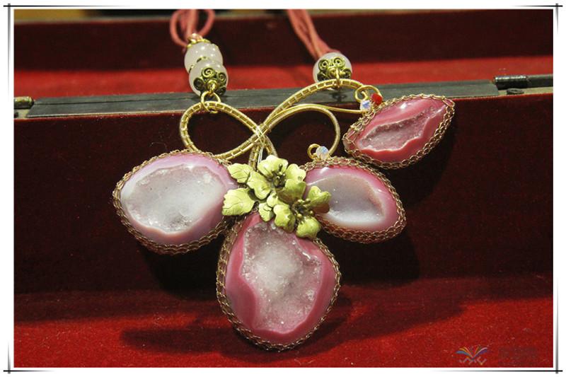 印尼 花与石项链磨砂花与爱丽丝项链 梅花吊坠 0202555图片四