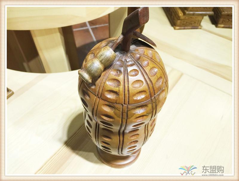 印尼 柚木工艺品花生摆件 0200964图片十