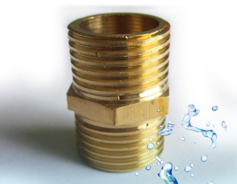 家用净水器五金配件全黄铜两通外牙图片三
