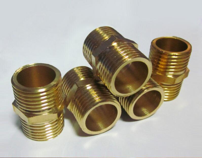 家用净水器五金配件全黄铜两通外牙图片一