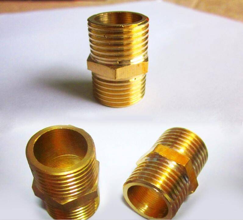 家用净水器五金配件全黄铜两通外牙图片二