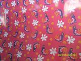 8安红底美女图印花布