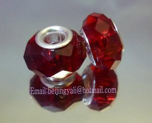 厂家直销潘多拉珠子,大红色珠子,大孔珠