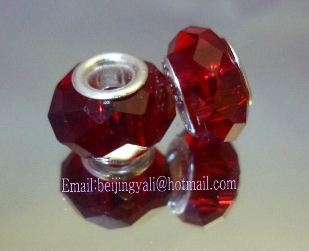 厂家直销潘多拉珠子,大红色珠子,大孔珠大图一