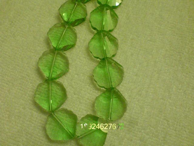 浅绿色花边玻璃珠-高档韩国水晶饰品