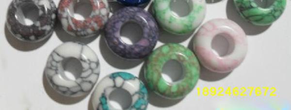 天然松石、宝石半成、松石大孔珠大图一