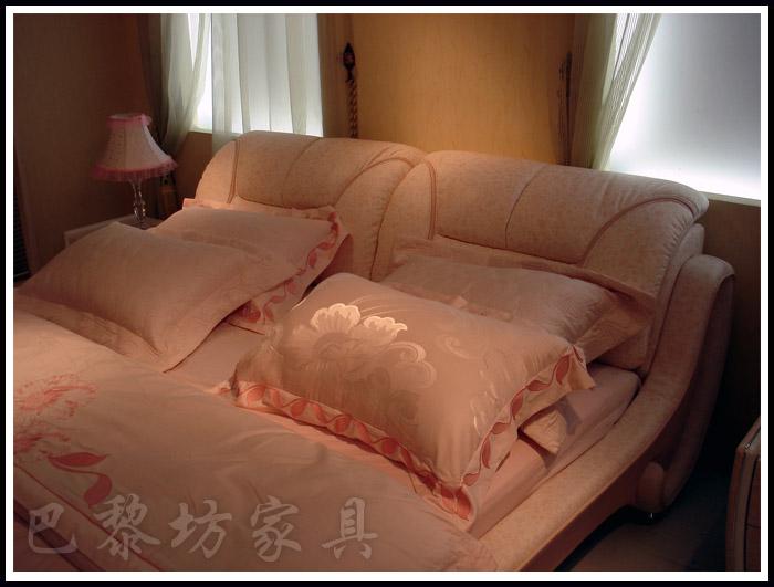 真皮欧式太子软体床榻榻布艺床床头柜巴黎坊软床代理