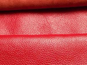 【厂家大量现货供应】头层牛皮荔枝纹 红色