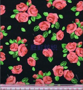 【厂家直销】黑底玫瑰印花布 全棉帆布印花 手袋箱包面料
