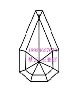 多边形双层刻面水晶吊坠