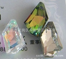25x50mm水晶石头形状挂件(银香槟色、镀七彩、五彩)