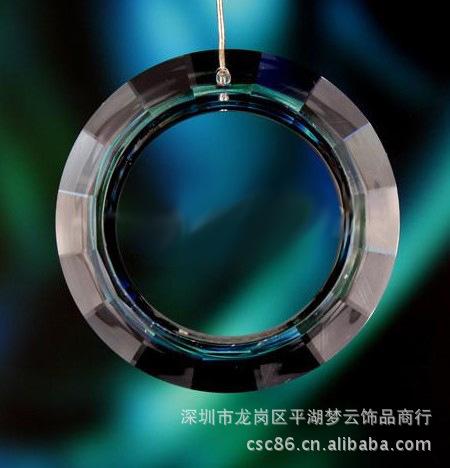 50mm水晶吊环、水晶圈圈吊坠、圆圈刻面吊坠大图一