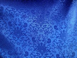 【织锦缎】装帧布 包装布 提花布 蓝色 大朵菊花卷 中国风