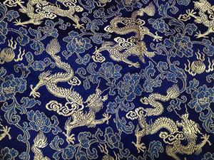 【织锦缎】装帧布 包装布 提花布 蓝底龙纹