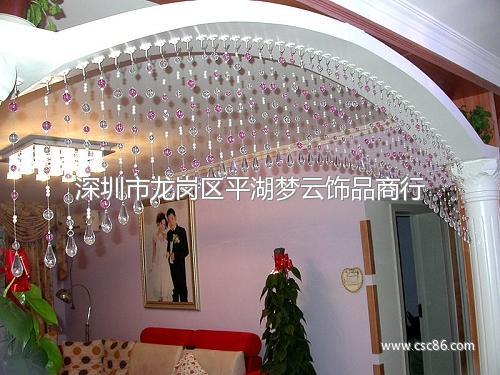 加工定做水晶珠帘,粉红色珠帘,客厅隔断