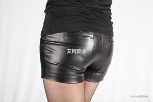 2013秋冬新款女装 欧美风 全皮双袋真皮羊皮短裤