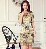 夏季新款复古典雅女式欧根纱刺绣短袖连衣裙