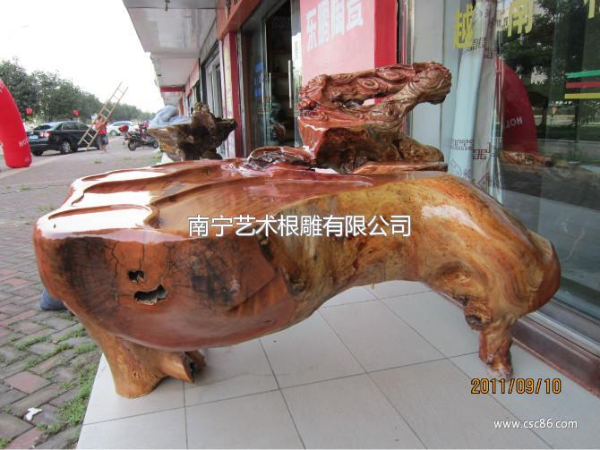 红榉木根雕艺术茶几 工艺品摆件