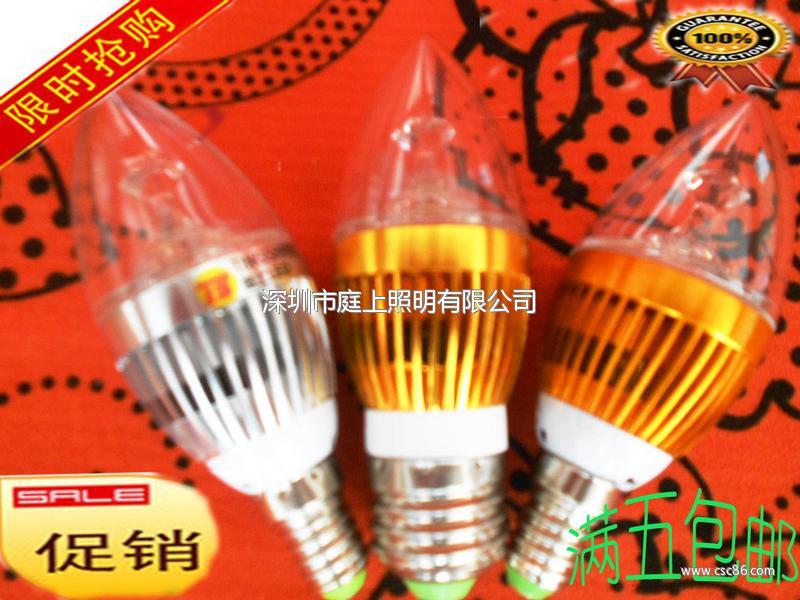 LED超亮3W蜡烛灯 LED蜡烛灯 螺口E27E1大图一