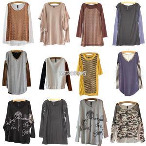 新款秋装外贸品牌长袖T恤 长袖打底衫女装 品牌杂款混批批发