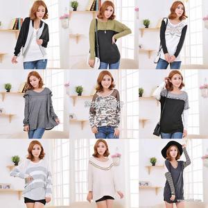 外贸品牌长袖T恤 长袖打底衫女装 品牌杂款 外贸日韩欧美女装