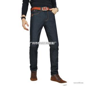 新塘加绒牛仔裤48元批发 修身男士牛仔裤 加厚保暖长裤