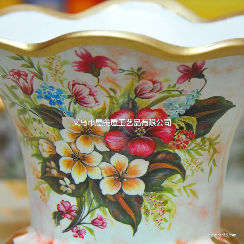 手绘彩色花卉家居装饰高温陶瓷摆件