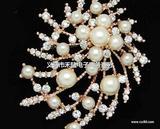 奢华时尚满钻韩国胸针珍珠胸针厂家批发新款别针胸花