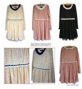 秋冬蕾丝连衣裙 最便宜的外贸品牌女装 雪纺