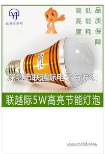 联越际超高亮5W LED球泡灯 E27灯泡批发