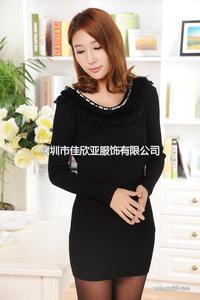 女装针织衫新款韩版时尚修身中长款长袖套头外套毛衣