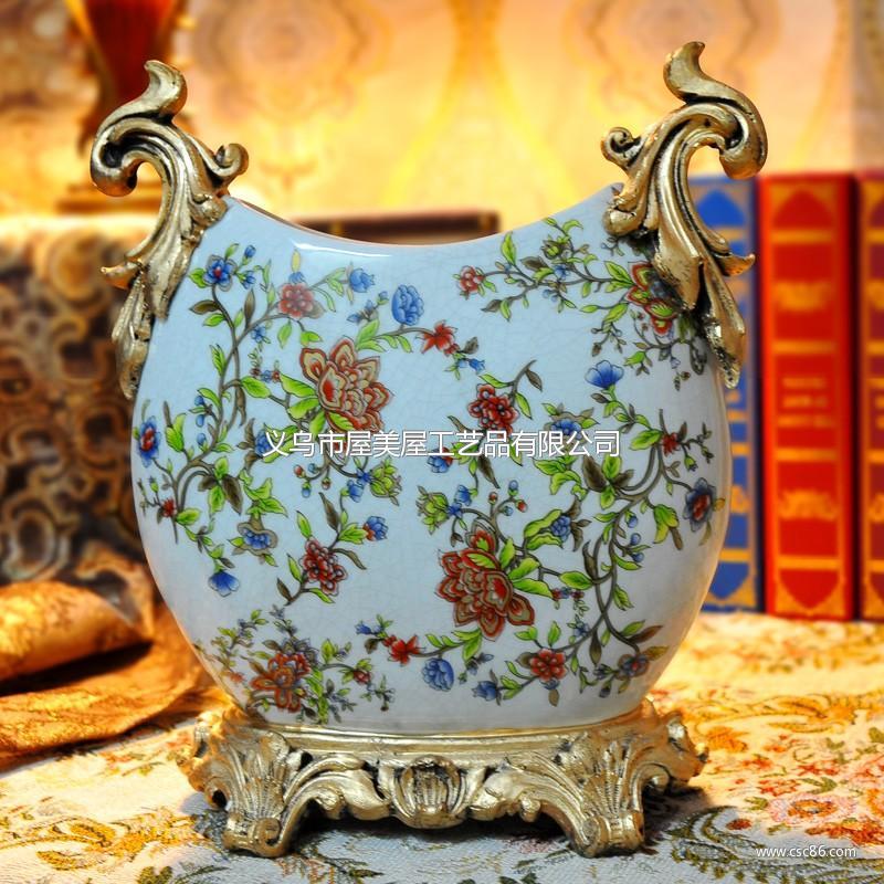 欧式宫廷手绘紫荆藤高温陶瓷花瓶摆件家居装修