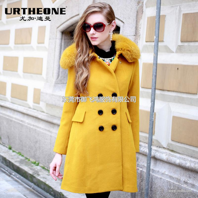 2013冬装新款欧美狐狸毛领羊毛呢子大衣修身外套6454A大图一