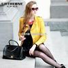 2013冬装新款欧美中高领纯色长袖皮质大码女装外套A5235小图一