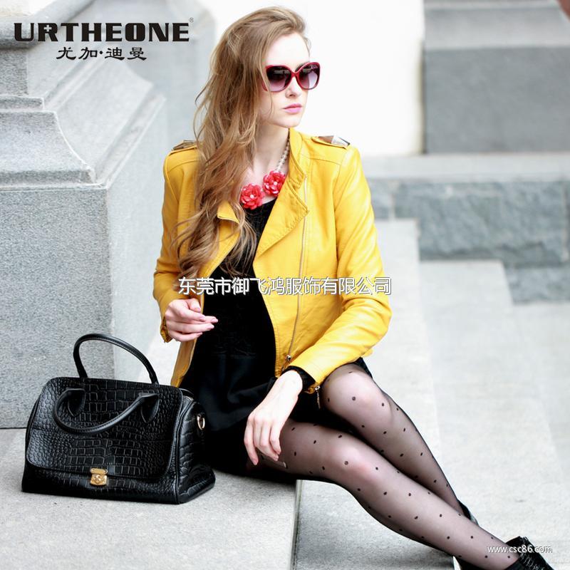 2013冬装新款欧美中高领纯色长袖皮质大码女装外套A5235大图一