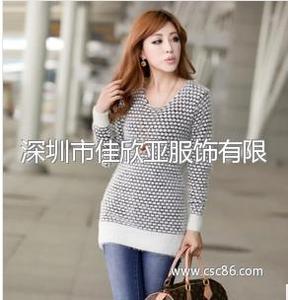 秋冬新款韩版中长款圆点马海毛针织衫毛衣