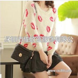 秋冬新款韩版圆领套头长袖外套 红唇毛海毛针织衫毛衣
