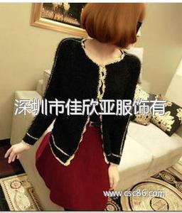秋冬女装韩版开衫金丝边马海 毛毛衣外套 针织衫