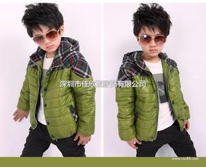 T1008 韩版冬款加厚带帽拼接格子男童棉衣 外套