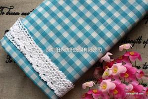 棉涤色织格子布