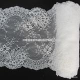 棉线玻璃纱水溶蕾丝刺绣双边花边 白色