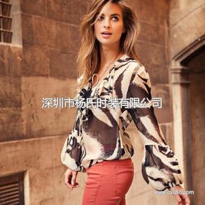戈莱薇2014春季新款特色灯笼袖印花真丝衬衫