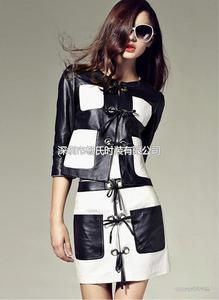 戈莱薇2014春季新款撞色绵羊皮套裙真皮连衣裙