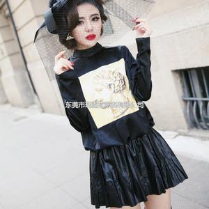 2014欧美新款女装修身拼接皮裙连衣裙厂家直销代发货B328
