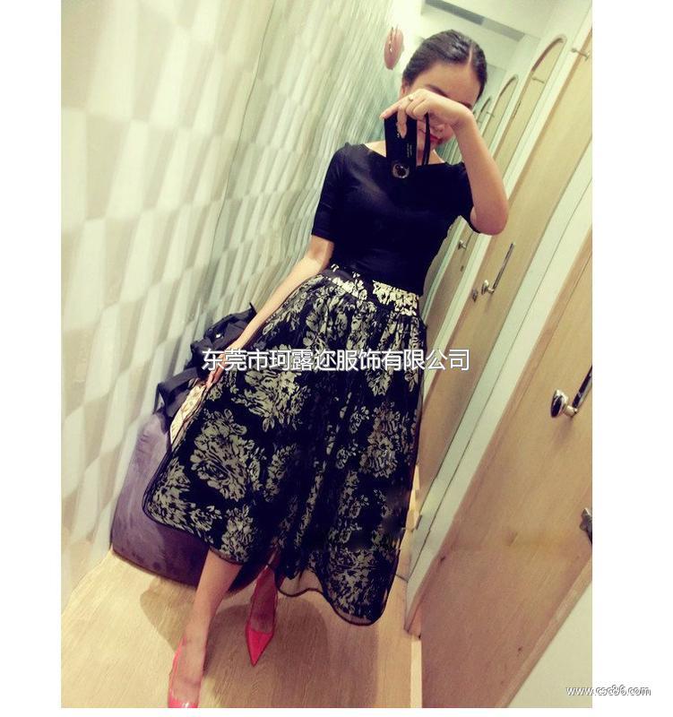 2014韩版欧根纱连衣裙 夏季女装新款两件套短袖裙子B353大图一