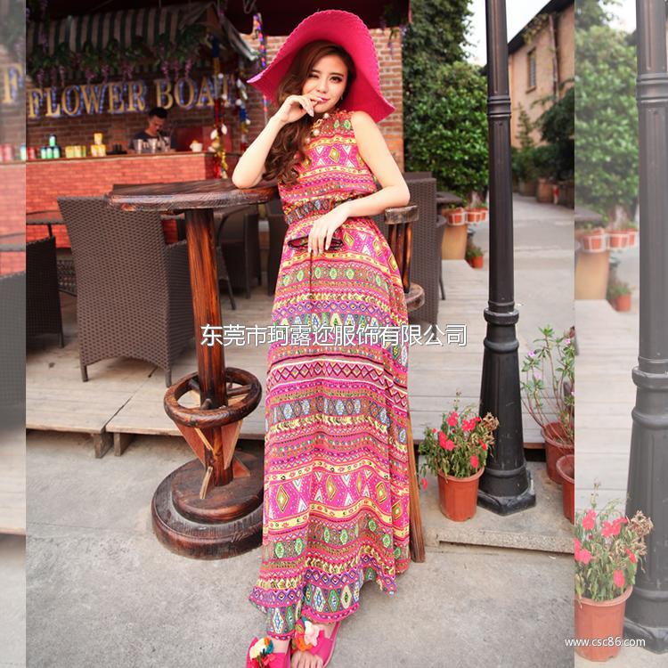 2014热卖夏季 原创女装设计波西米亚长裙新款连衣裙A362大图一